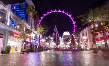 The High Roller Ferris Wheel at The Linq Hotel and Casino at night - Las Vegas, Nevada, USA