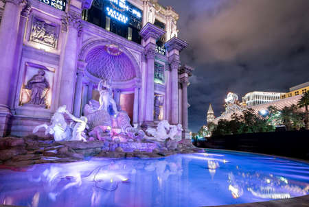 Trevi Fountain replica at Caesars Palace Hotel and Casino at night - Las Vegas, Nevada, USA