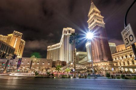 Las Vegas Strip and Venetian Hotel Casino at night - Las Vegas, Nevada, USA