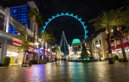 nv: The High Roller Ferris Wheel at The Linq Hotel and Casino at night - Las Vegas, Nevada, USA