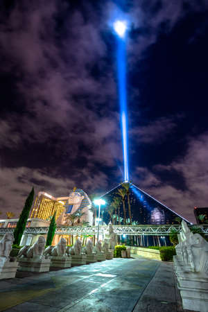 Luxor Hotel and Sky Beam at night - Las Vegas, Nevada, USA