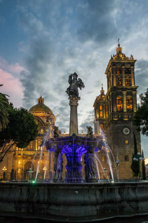 Fountain and Puebla Cathedral at sunset - Puebla, Mexico
