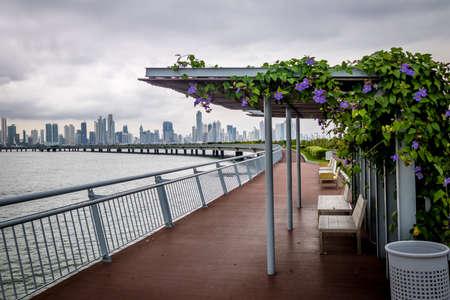 Covered benches on Cinta Costera - Panama City, Panama