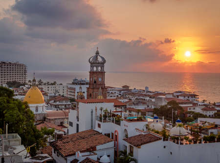 Aerial view of Downtown Puerto Vallarta at sunset - Puerto Vallarta, Jalisco, Mexico
