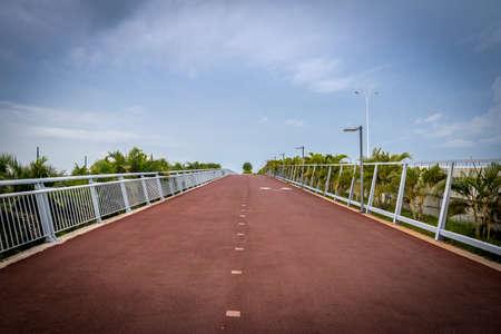 Bicycle lane and a jogging path in Cinta Costera - Panama City, Panama