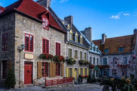 Place Royale (Royal Plaza) buildings - Quebec City, Canada Foto de archivo