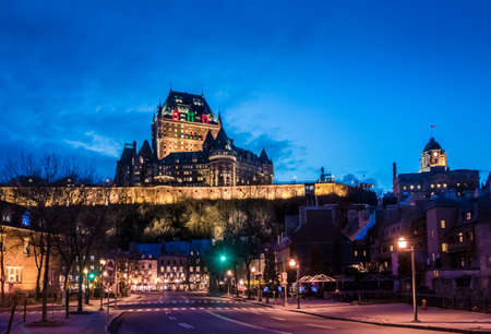 Lower Old Town (Basse-Ville) and Frontenac Castle at night - Quebec City, Quebec, Canada