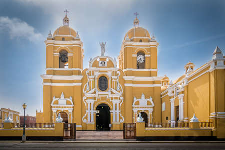 Front view of yellow Trujillo Cathedral - North of Peru