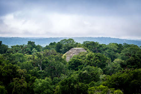 Top of Mayan pyramid at Tikal National Park - Guatemala Stock Photo