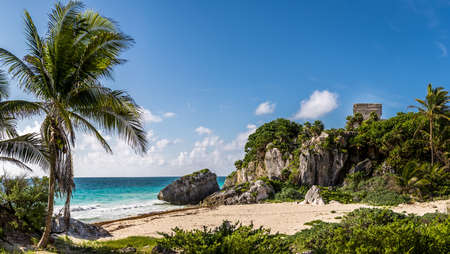 God of winds Temple and Caribbean beach - Mayan Ruins of Tulum, Mexico 写真素材