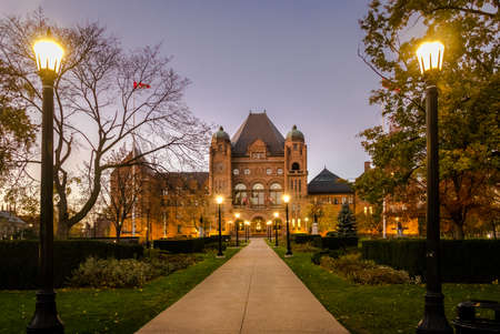 Legislative Assembly of Ontario at night situated in Queens Park - Toronto, Ontario, Canada