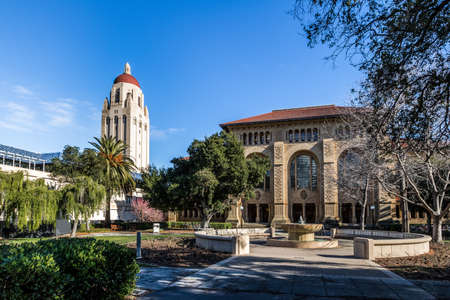 Stanford University Campus and Hoover Tower - Palo Alto, California, USA