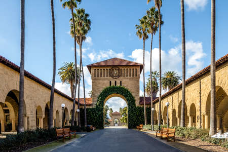Gate to the Main Quad at Stanford University Campus - Palo Alto, California, USA Editorial