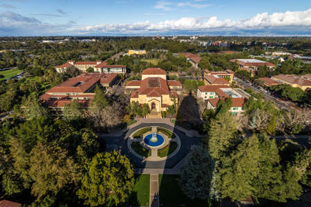 Aerial view of Stanford University Campus - Palo Alto, California, USA