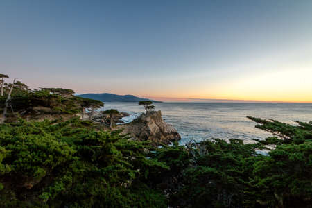 Lone Cypress tree view at sunset  along famous 17 Mile Drive - Monterey, California, USA Stock Photo