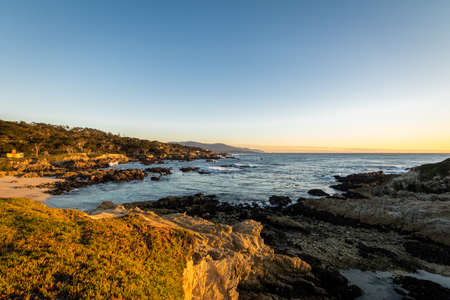 Beach view along famous 17 Mile Drive - Monterey, California, USA Stock Photo