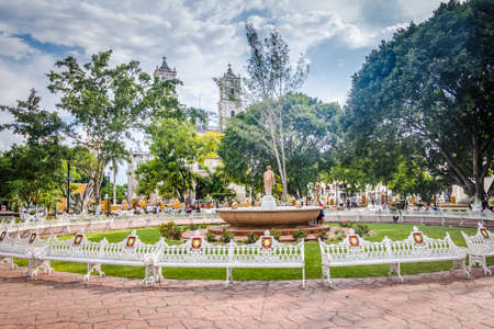 Fountain and main plaza - Valladolid, Mexico Stock Photo