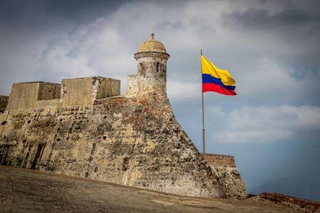 Castillo de San Felipe and Colombian flag - Cartagena, Colombia