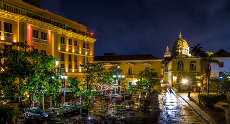 Old Walled City of Cartagena at night Stock Photo