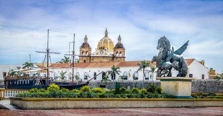 Pegasus Statues, San Pedro Claver church Domes and Ship - Cartagena de Indias, Colombia