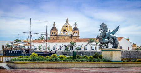 Pegasus Statues, San Pedro Claver church Domes and Ship - Cartagena de Indias, Colombia