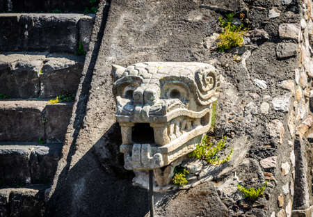 Carving details of Quetzalcoatl Pyramid at Teotihuacan Ruins - Mexico City, Mexico