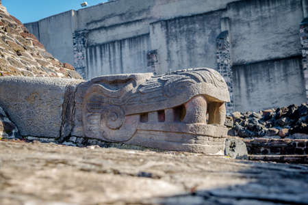 Serpent Head Sculpture in Aztec Temple (Templo Mayor) at ruins of Tenochtitlan - Mexico City, Mexico
