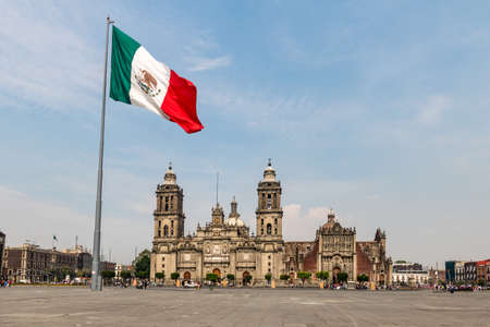 Panoramic view of Zocalo and Cathedral - Mexico City, Mexico