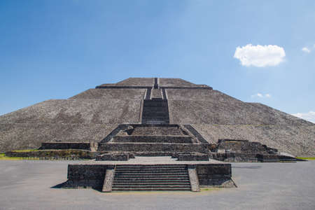 Front view of the Sun Pyramid at Teotihuacan Ruins - Mexico City, Mexico Stock Photo
