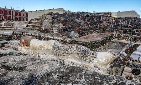 Serpent Sculpture in Aztec Temple (Templo Mayor) at ruins of Tenochtitlan - Mexico City, Mexico