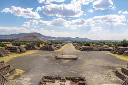 View from above of Plaza of the Moon and Dead Avenue with Sun Pyramid on Background - Teotihuacan Ruins, Mexico City, Mexico