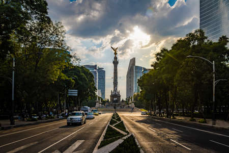 Paseo de La Reforma Avenue and Angel of Independence Monument - Mexico City, Mexico