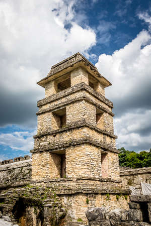 tourist site: Palace observatory tower at the Mayan ruins of Palenque - Chiapas, Mexico