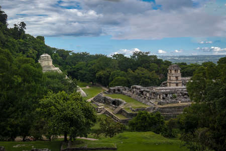 Panoramic view of the Mayan ruins of Palenque - Chiapas, Mexico