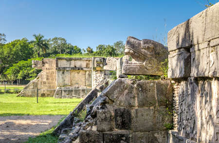 Jaguar heads of the Venus Platform at Ancient Maya Ruins of Chichen Itza - Yucatan, Mexico 写真素材