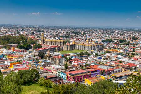 High view of Cholula City - Cholula, Puebla, Mexico Фото со стока