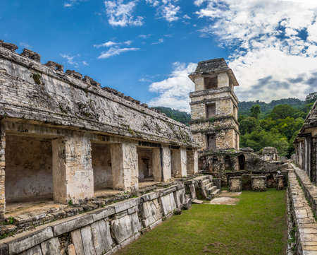archaeological sites: Palace and observatory at the Mayan ruins of Palenque - Chiapas, Mexico
