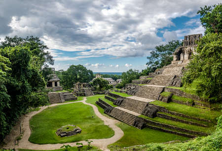 archaeological sites: Temples of the Cross Group at the Mayan ruins of Palenque - Chiapas, Mexico Stock Photo