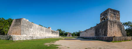 archeological: Panoramic view of ball game court (pelota game) at Chichen Itza - Yucatan, Mexico Stock Photo