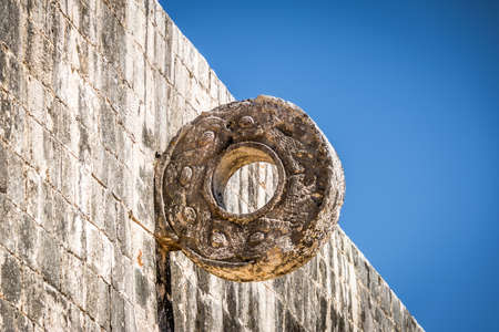 Detail of hoop at ball game court (pelota game) at Chichen Itza - Yucatan, Mexico