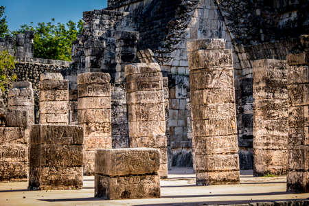 Carved columns at Mayan ruins of Temple of the Warriors in Chichen Itza - Yucatan, Mexico