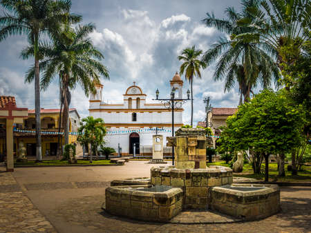 Main square of Copan Ruinas City, Honduras 免版税图像