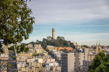 Coit Tower and Telegraph Hill -  San Francisco, California, USA