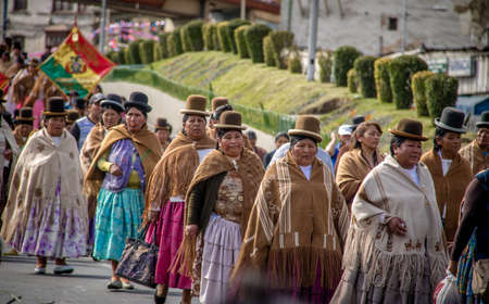 Traditional Women (Cholitas) in Typical Clothes During 1st of May Labor Day Parade - La Paz, Bolivia