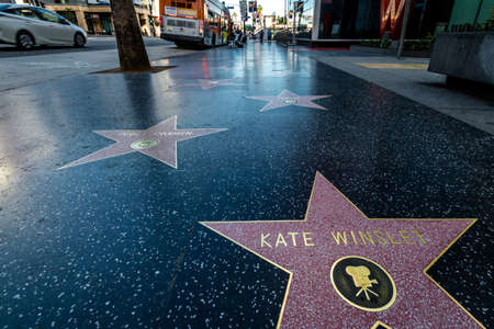The Hollywood Walk of Fame in Hollywood Boulevard - Los Angeles, California, USA
