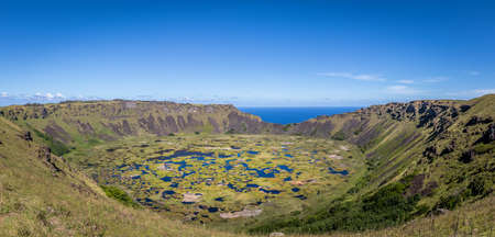 Panoramic view of Crater of Volcano Rano Kau in Easter Island - Chile Banco de Imagens