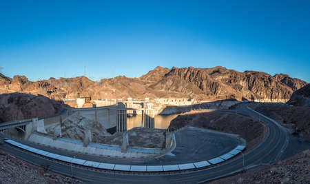 hoover dam: Hoover Dam at Arizona - Nevada Border, USA