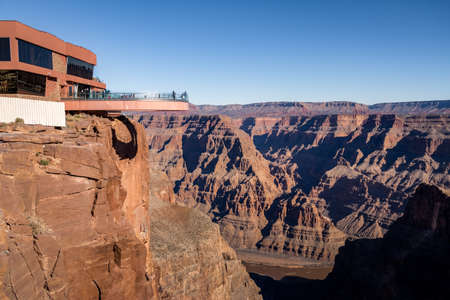 Skywalk glass observation bridge at Grand Canyon West Rim - Arizona, USA