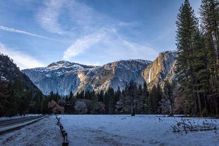 Yosemite Valley with Upper Yosemite Falls during winter
