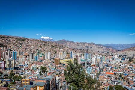 View of La Paz with Illimani Mountain - La Paz, Bolivia Stock Photo